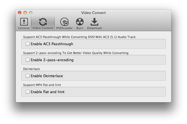 Settings of converting videos